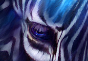Animal Mixed Media Metal Prints - Zebra Blue Metal Print by Carol Cavalaris