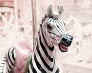 Baby Room Framed Prints - Zebra Carousel Framed Print by Amy Tyler