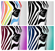 Pittie Posters - Zebra Collage   Poster by Mark Ashkenazi