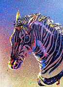 Jaguars Painting Prints - Zebra Fantasy Print by Mayhem Mediums