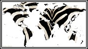 World Map Print Photo Prints - Zebra Fur World Map Print by Rose Santuci-Sofranko