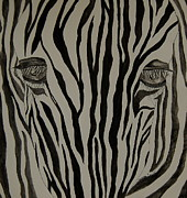 Zebra Paintings - Zebra Lines by Tamyra Crossley