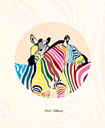 Whimsical Illustration Art - Zebra  by Mark Ashkenazi