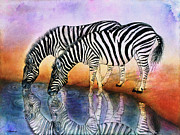 Stripped Paintings - Zebra Reflections by Janet Immordino