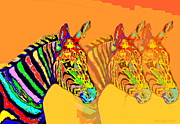 Friendly Digital Art - Zebra X3 by Joyce Dickens