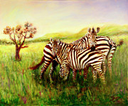 Tanzania Paintings - Zebras at Ngorongoro Crater by Sher Nasser