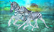 Full Moon Mixed Media - Zebras II of II by Betsy A Cutler East Coast Barrier Islands