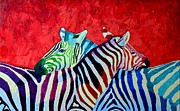Abstract Realism Paintings - Zebras In Love  by Ana Maria Edulescu
