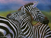 Zebra Paintings - Zebras In Love Giclee Print by William Cain