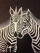 Zebra Paintings - Zebras by Lindsey Kirby