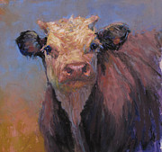 Bulls Pastels Metal Prints - Zeke Metal Print by Susan Williamson
