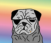 Dog Prints Digital Art - Zeke The Pug With Joint - Pastel Rainbow by L Rodman