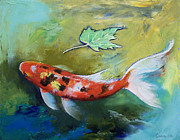Butterfly Koi Framed Prints - Zen Butterfly Koi Framed Print by Michael Creese