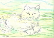 Cat Pastels - Zen Cat  2012 by Denise Fulmer