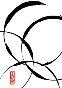 Sumi-e Paintings - Zen Circles 2 by Hakon Soreide