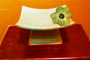 Kathie Mccurdy Prints - Zen Flower Dish Print by Kathie McCurdy