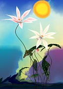 Guojun Pan Metal Prints - Zen flowers 3d Metal Print by GuoJun Pan