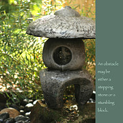 Japanese Lantern Prints - Zen Garden with Quote Print by Heidi Hermes