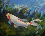 Koi Painting Posters - Zen Koi Poster by Michael Creese