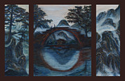 Tryptych Originals - Zen Mountain Lake Tryptych by Angie Bray