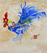 Watercolor Roosters Framed Prints - Zen Rooster Framed Print by Arlene  Wright-Correll