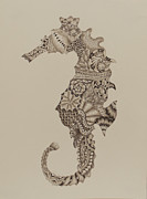 Meditative Drawings - Zen SeaHorse by Nancy Harris