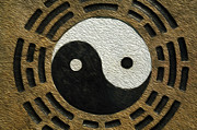 Concentration Digital Art - Zen stones with yin and yang by Lanjee Chee