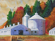 Farm Buildings Painting Originals - Zenda Farm Fall by Robert P Hedden