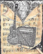 Music Drawings Framed Prints - Zentange Inspired Guitar Framed Print by Dianne Ferrer