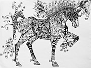 Horse Drawings Prints - Zentangle Circus Horse Print by Jani Freimann