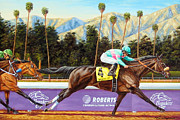 Zenyatta Paintings - Zenyatta Winning the 2009 Breeders Cup Classic by Tom  Chapman
