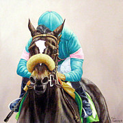 Zenyatta Paintings - Zenyatta Winning the Vanity Handicap by Tom  Chapman