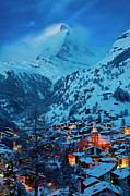 Snowy Evening Prints - Zermatt - Winters Night Print by Brian Jannsen