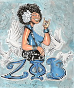 Duke Mixed Media Prints - Zeta Phi Beta Sorority Inc Print by Tu-Kwon Thomas