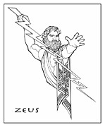 Zeus Drawings Framed Prints - Zeus Framed Print by Steven Stines
