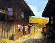 Cobblestone Painting Prints - Zheravna in The Autumn Print by Kiril Stanchev