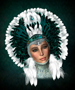 Silver Turquoise Digital Art - Ziegfeld Girl - Feathers by Suzanne Amberson