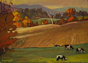 Berkshire Hills Posters Paintings - Ziemba Farm by Len Stomski