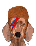Wall Art Greeting Cards Digital Art Posters - Ziggy Aladdin Sane Dog Poster by Kelly McLaughlan