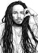 Children Playing Portrait Prints - Ziggy marley art drawing sketch portrait Print by Kim Wang