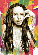 Music Legend Mixed Media Framed Prints - Ziggy Marley - stylised drawing art poster Framed Print by Kim Wang