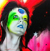 David Bowie Portrait Paintings - Ziggy Played Guitar by Christian Chapman Art