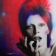 David Bowie Portrait Paintings - Ziggy Stardust by Christian Chapman