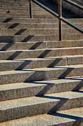 Downtown Stairs Metal Prints - Zigzag Shadows Metal Print by Angelina Vick