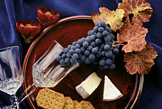 Blue Grapes Photos - Zinfandel Grapes Brie and Crackers by Craig Lovell