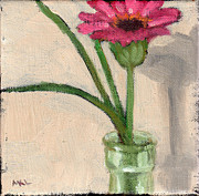 Zinnia Paintings - Zinnia in Antique Bottle by Marie K Lynch