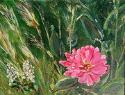 Zinnia Paintings - Zinnia by Linda McCarthy