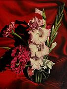 Gladiolas Posters - Zinnias and gladiolas Poster by George Tuffy