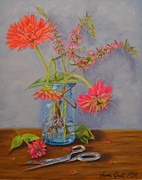 Greeting Card Pastels Originals - Zinnias from the Garden by Joanne Grant