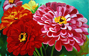 Pink Zinnias Framed Prints - Zinnias Framed Print by Jayne Morgan
